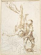 Scene of Martyrdom (Crucifixion of Saint Peter?) (recto); Fragment of Design for Ornamental Border (verso)