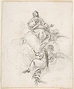 Virgin of the Immaculate Conception Seated on Clouds, Supported by Four Angels
