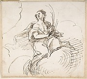 Female Figure with Palm (?) Seated on Clouds