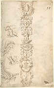 Candelabra Grotesque and Various Figure Studies (recto); Two Griffins and Female Heads (verso)