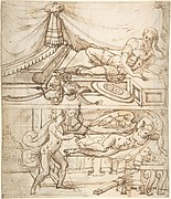 Two Scenes placed One above the Other of a Reclining Warrior and a Reclining Putto (recto); Grotesque Fountain with a Warrior (verso)