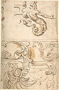 Merman with Strapwork, Above Strapwork and Snails (recto); Grotesques with Caryatid Term Figures (verso)