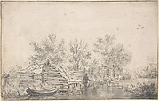 Canal Landscape with a Fisherman