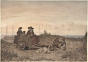 A Fisherman's Family at the Beach, the Mother and One of the Children Sitting in a Cart