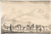Winter Landscape with Skaters and Horse-Drawn Sledges on the Ice, a Village Below