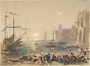 Seascape (recto); Indecipherable sketch (verso)