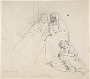 Sketch of Two Seated Women with Young Girl Sitting at Their Feet; Verso: Sketch of a Woman