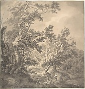 Landscape with a House Hidden Between Trees and Two Men Near a Small Bridge