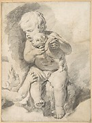 Two Boys with a Puppy