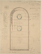 Design for Arched Stained Glass Windows (recto); Design for an Architectural Element (verso)