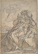 Saint Paul Seated, with his Conversion in the Background; Verso: Figure Sketch