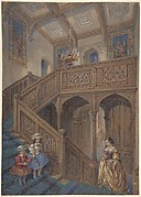 Design for a Jacobean-style Staircase (recto); Architectural Element Design (verso)