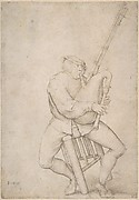 Seated Man, Precariously Balanced, Playing Bagpipes