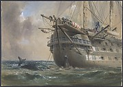 H.M.S. Agamemnon Laying the Atlantic Telegraph Cable in 1858: a Whale Crosses the Line