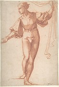 Study for a Standing Young Man, Raising a Curtain and Looking at Left