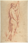 Standing Nude Female Figure (recto); Studies of a Kneeling Nude Female Figure and of a Man's Head (verso)