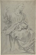 Seated Draped Male Figure (recto); Rough Studies of Putti (verso)