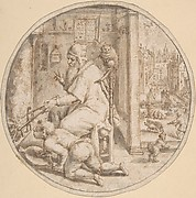 December: And Old Man Seated by a Hearth with a Young Man Blowing on the Fire