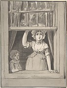 A Woman Standing at an Open Sash Window, a Small Boy Beside Her