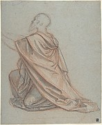 Study of a Kneeling Man; verso: Cropped Study of a Standing Man in a Cloak