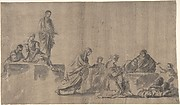Figures Surrounding a Man Lying on the Ground; verso: A Group of Figures