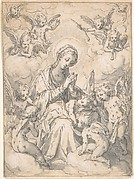 The Virgin and Child Surrounded by Little Angels in the Clouds