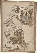 Studies for Four Figures (recto); Composition Sketches for Groupings of Figures on Clouds (verso)