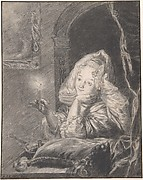 Young Woman Seated at a Table, Holding a Candle