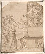 Mucius Scaevola Burning off his Hand before Porcenna