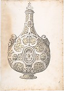 Design for a Silver- gilt Flask Decorated with Strapwork, Masks, Moresques
