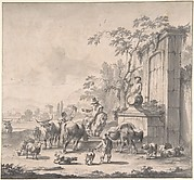 Landscape with Herdsmen, Sheep and Cows Around a Fountain