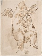 Cupid Seated on a Cloud and Holding a Palm (?)