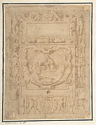 "Design for a Cartouche with the ""IHS"" Monogram of the Society of Jesus, Putti, Fantastick Creatures, at the Borders, a Central Scene of the Virgin and Child with a Monastic Figure, and the Family Arms of a Cardinal"