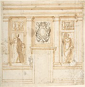Elevation of a wall with partial pilasters, reliefs, and niche figures