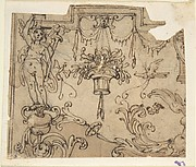 Fragment of an Ornament Design after the antique; Candelabrum with caryatid supporting entablature, with acanthus rinceau & birds