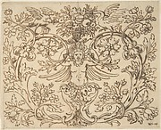 Design for a Decroative Panel with a Hybrid Figure from which Two Tendrils Emerge