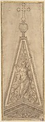 Design for Pediments of an Ecclesiastical Building (an Overdoor?) with a Figure of the Resurrected Christ, Surmounted by a Cross