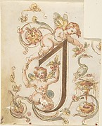 "Decorative Letter ""I"" with Putti (Embroidery Design?)"