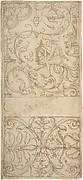 Antique-Style Ornamental Frieze Design: Grotteschi with Figures, Cornucopiae, and Shields.