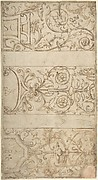 Antique-Style Ornamental Frieze Design: Lettered Panels, Rinceaux, and Masks