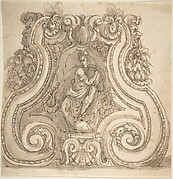 Design for the Base of a Candle Stick with a Seated Female(?) Figure