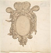 Design for a Coat of Arms Surmounted by a Ring with Allegorical Figures of Justice and Fortitude