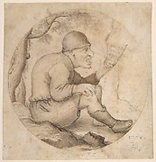 Seated Old Man Facing Right, Singing and Holding Music