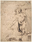 Study of the Christ Child and the Hand of the Madonna.  Verso; Profile of a Man