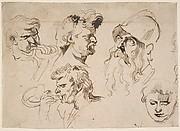 Sheet of Studies of Heads