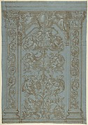 Design for an interior wall decoration with pilasters adorned with foliage and grotesque designs with fantastic creatures in the