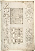 Grotesque Decoration and Ceiling Designs (Recto); Geometric Design (Verso)