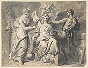 An Allegory of the Arts with Isis and Geometry Attending the Three-headed Figure of Painting and Sculpture, a Putto Crowning her with Laurels