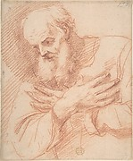Old Bearded Man in Three-Quarter View with Hands Crossed Over His Chest