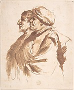 Two Men, Depicted Half-Length, in Profile
